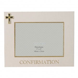 "7"" X 5"" - LINEN LOOK FRAME CROSS ICON - CONFIRMATION Code: FL326CON"