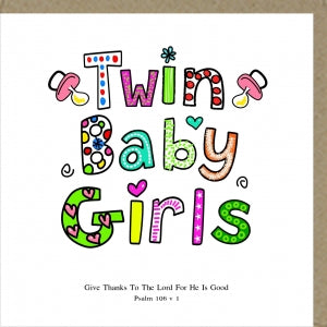 Potty Mouse Greetings Card Twin Baby Girls Code: PM114