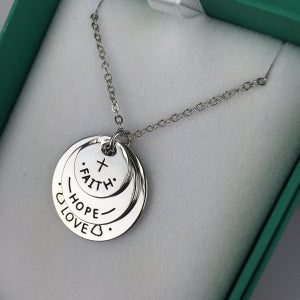Faith Love Hope Triple Disk Necklace Code: W0056
