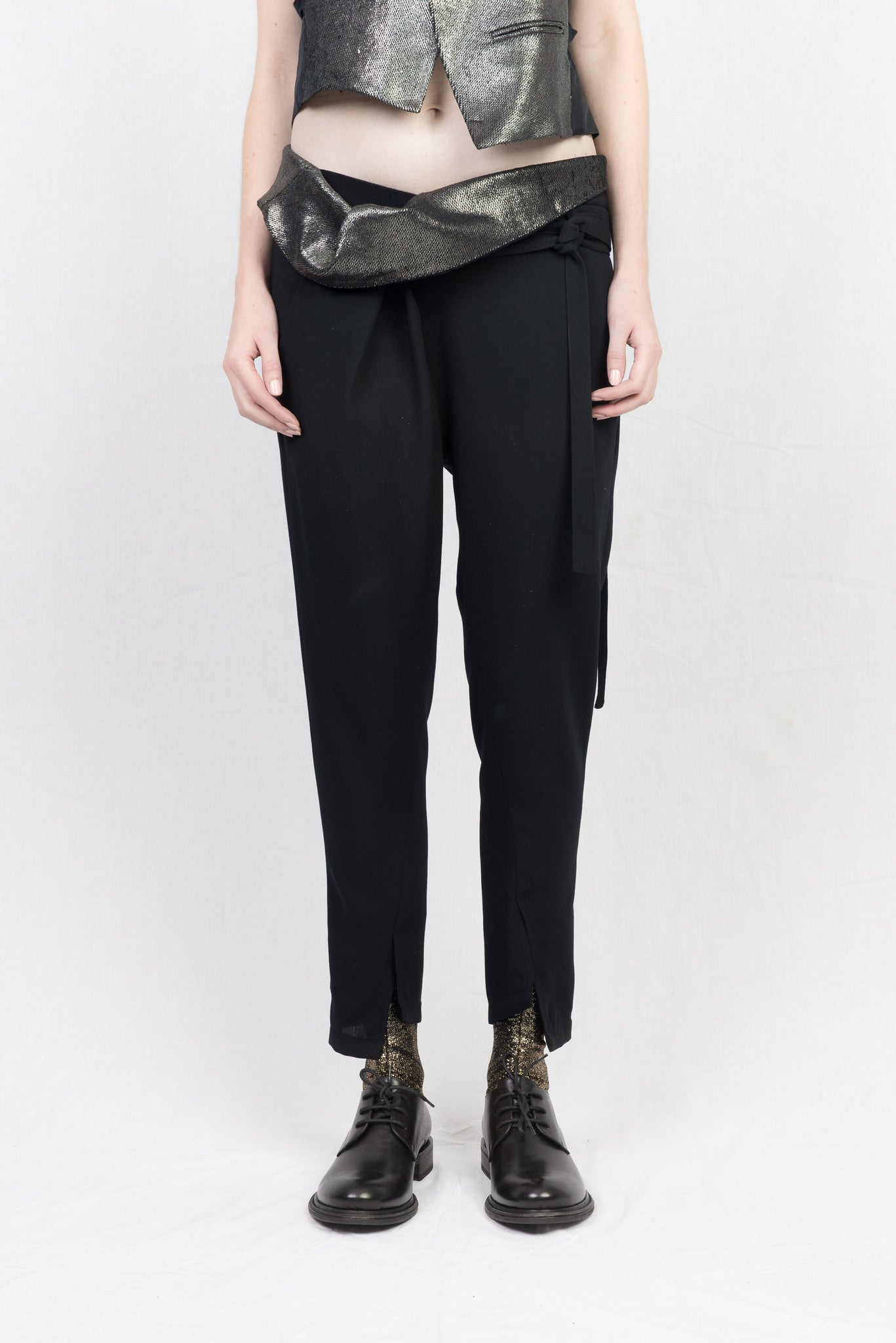 ANN DEMEULEMEESTER waldo black + solis gold trousers