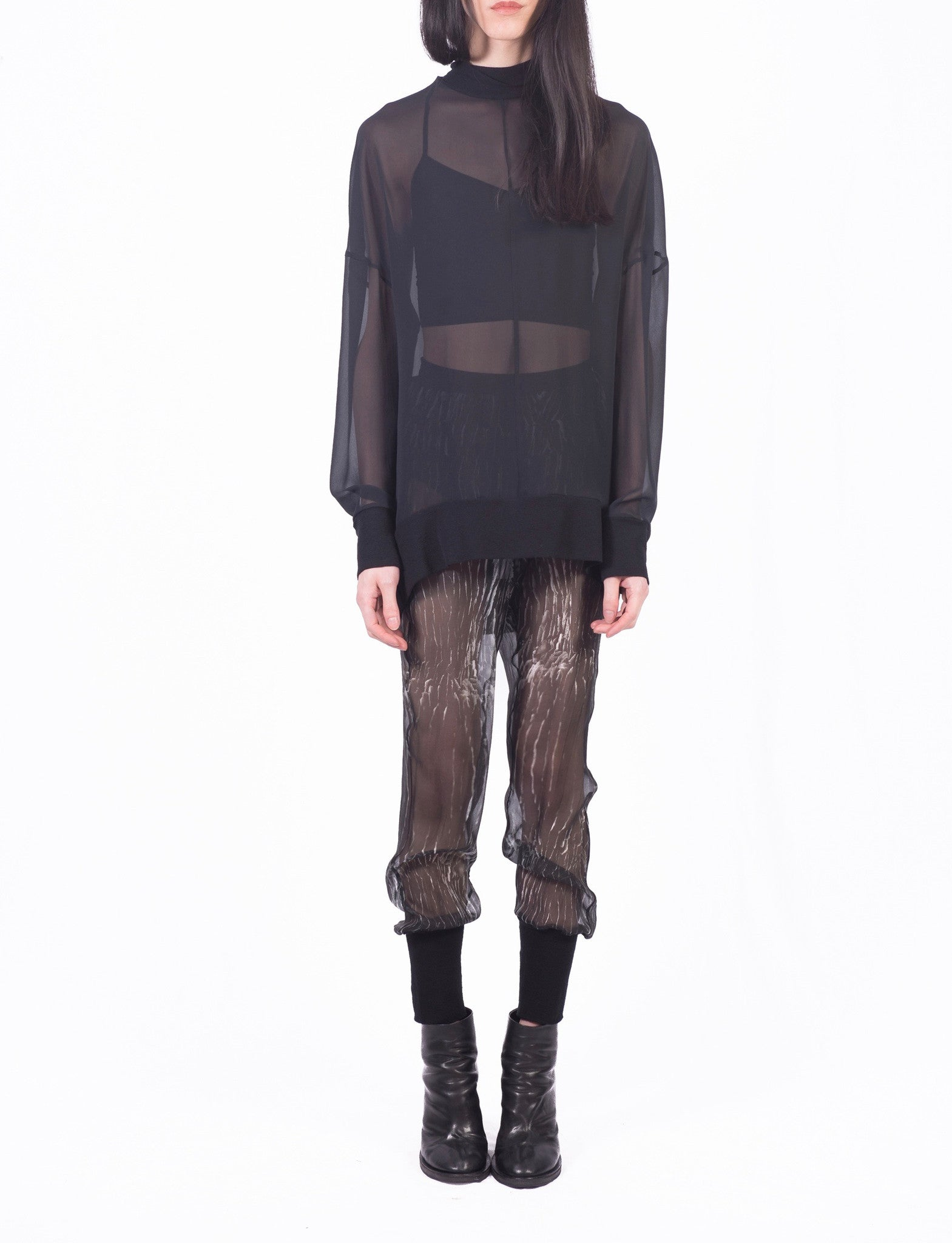 127 Brick Lane ANN DEMEULEMEESTER Black White 100% Silk sheer trousers