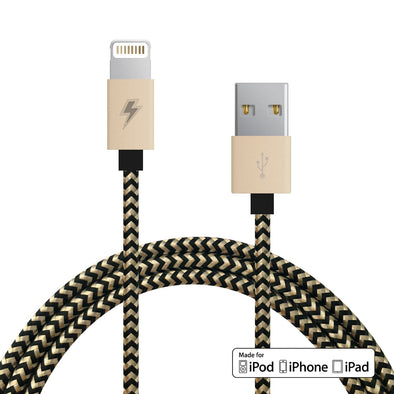 Gold and Black Lightning Cable [5 ft / 1.5m length]