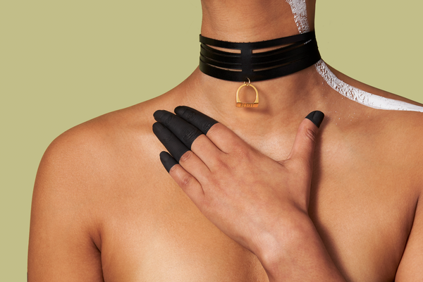 RESIST Leather Choker & Pendant