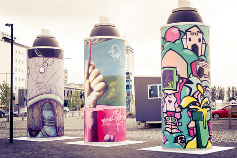 Street art spray cans