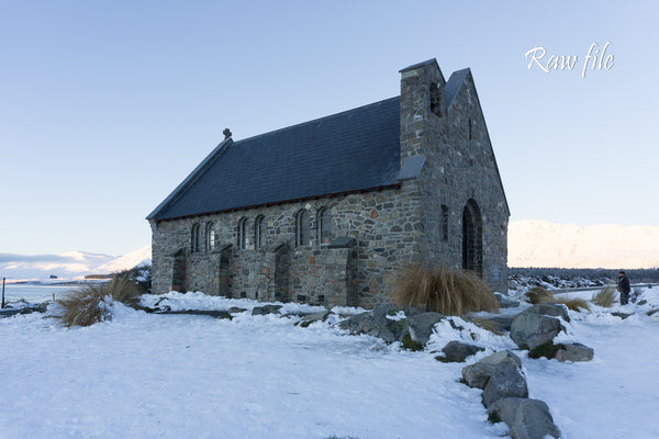 Church of the Good Shepherd with snow on ground. Before shot.