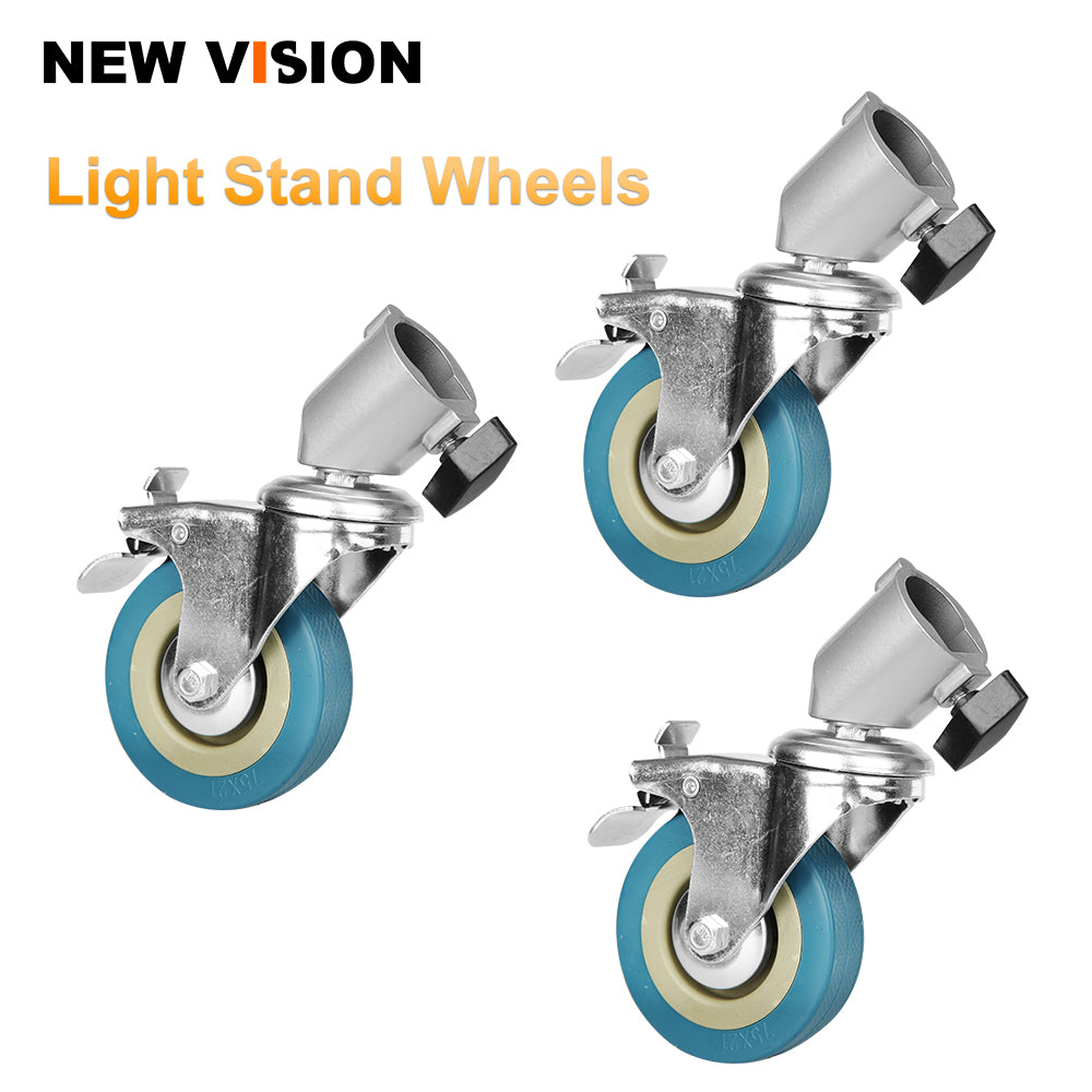 22cm Studio PRO Professional Swivel Caster Wheel Set of 3 for Light Stands - Mode de vie Photography and Photo Presets