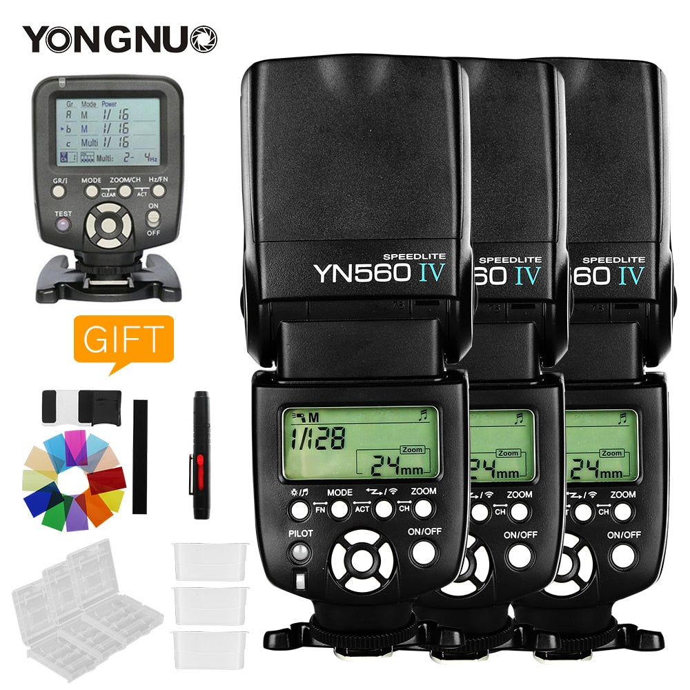 3PCS Yongnuo YN560 IV YN560IV +YN560TX Flash Controller For Canon Nikon - Mode de vie Photography and Photo Presets