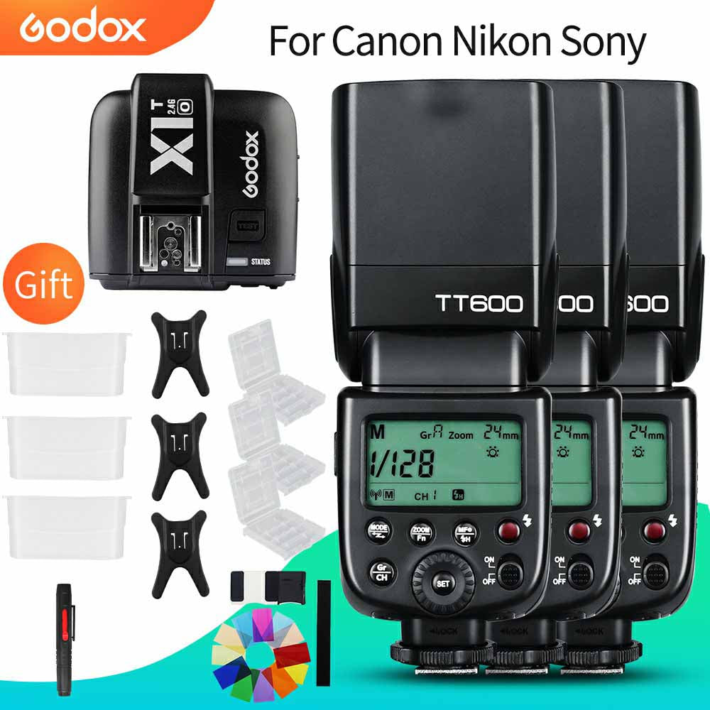 3x Godox TT600 Built-in Receive Camera Flash Speedlite Diffuser with X1T-C/N/S Transmitter - Mode de vie Photography and Photo Presets