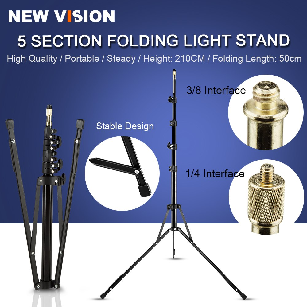 5-Section 210cm 83'' Reverse Legs Light Stand Reverse fold Studio Photo Stand Photo Studio - Mode de vie Photography and Photo Presets