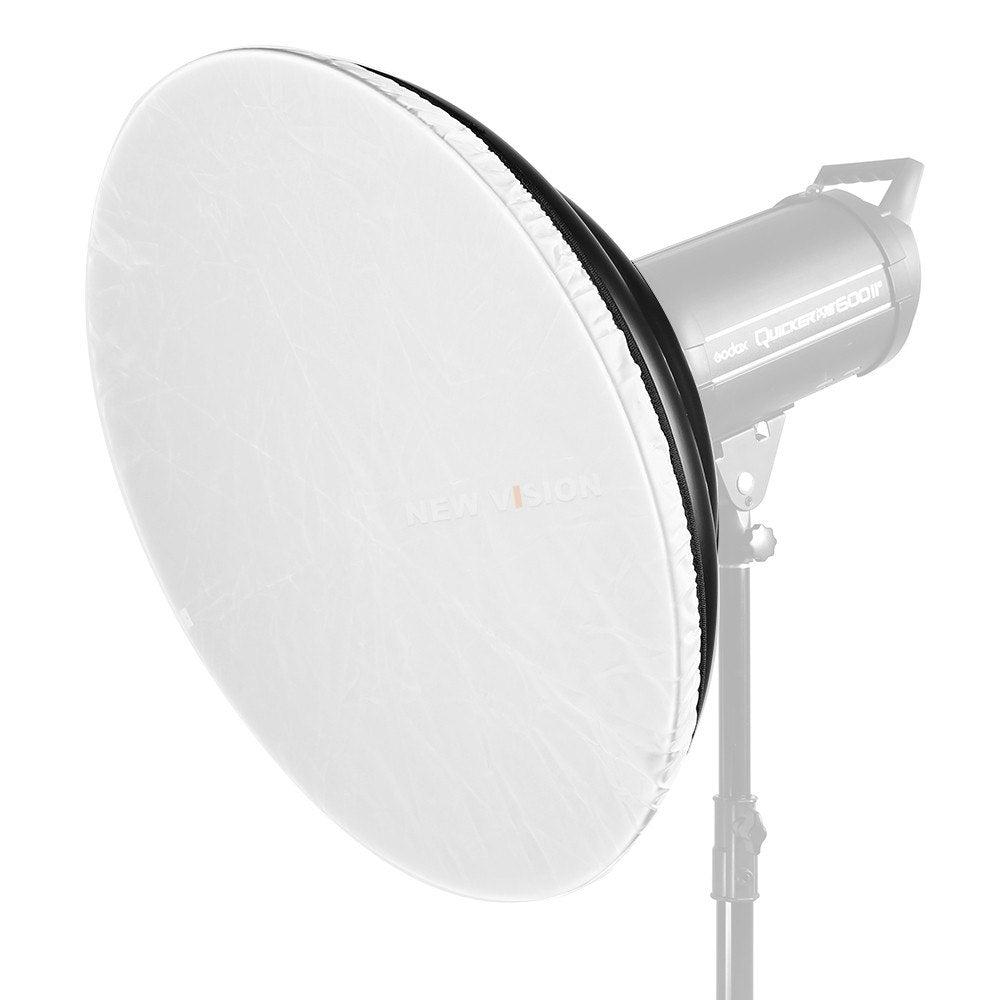 55cm / 21.7 Inch Studio Silver Waved Beauty Dish Bowens Mount + Honeycomb Grid + Diffuser - Mode de vie Photography and Photo Presets