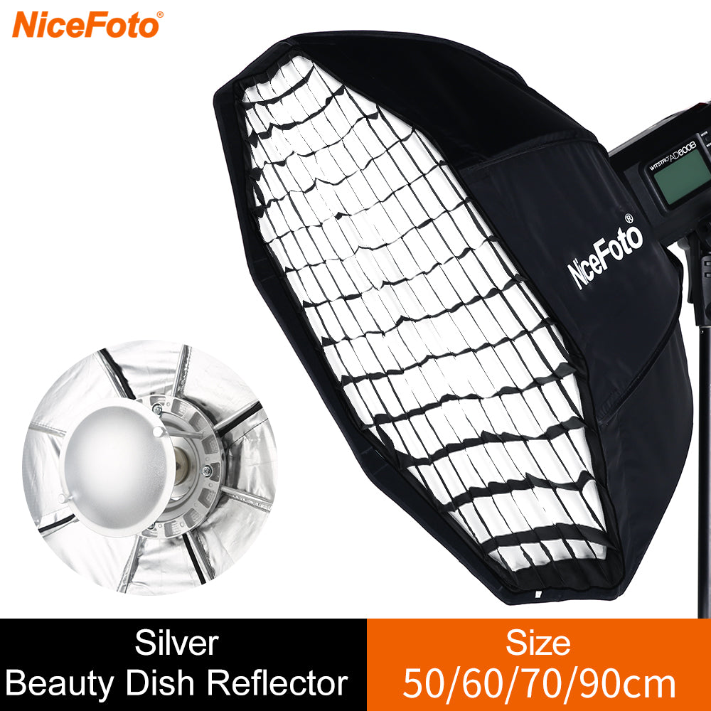 70cm Silver Bowens Mount Beauty Dish with Honeycomb Grid Softbox Folding Beauty Flash - Mode de vie Photography and Photo Presets