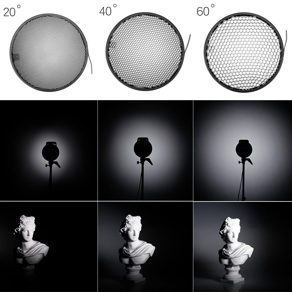 7inch 18cm Standard Reflector Diffuser with 20/40/60 Degree Honeycomb Grid for Bowens - Mode de vie Photography and Photo Presets