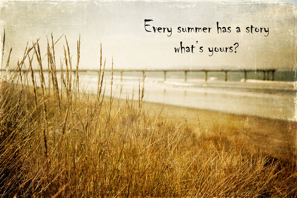 Beach photo with grasses and the New Brighton Pier in the background.  Textured photo with the quote 'Every summer has a story, what's yours?'