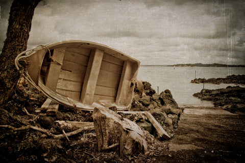 Lone dingy on Rangitoto Island. textures, quote, text, feeling washed up or looking for higher ground?