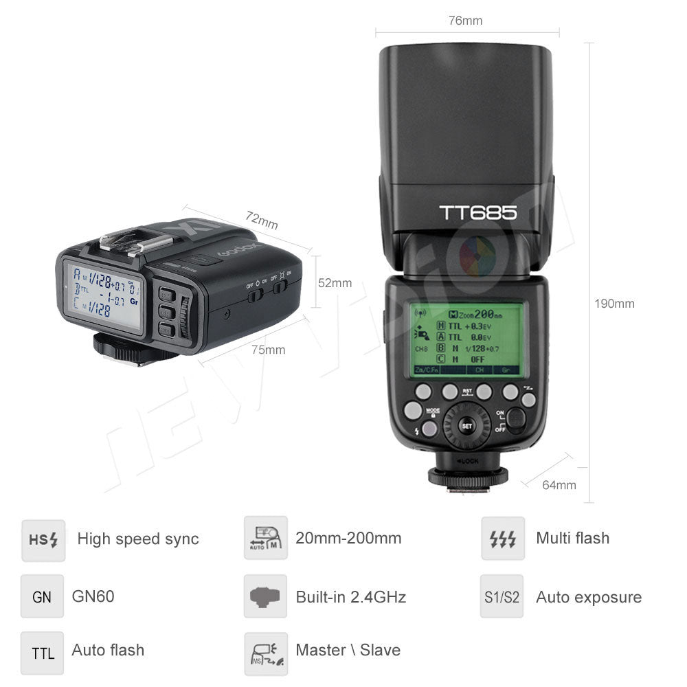Free DHL!!3 x Godox TT685S 2.4G HSS TTL GN60 Flash Speedlite+ X1T-S Trigger Transmitter - Mode de vie Photography and Photo Presets