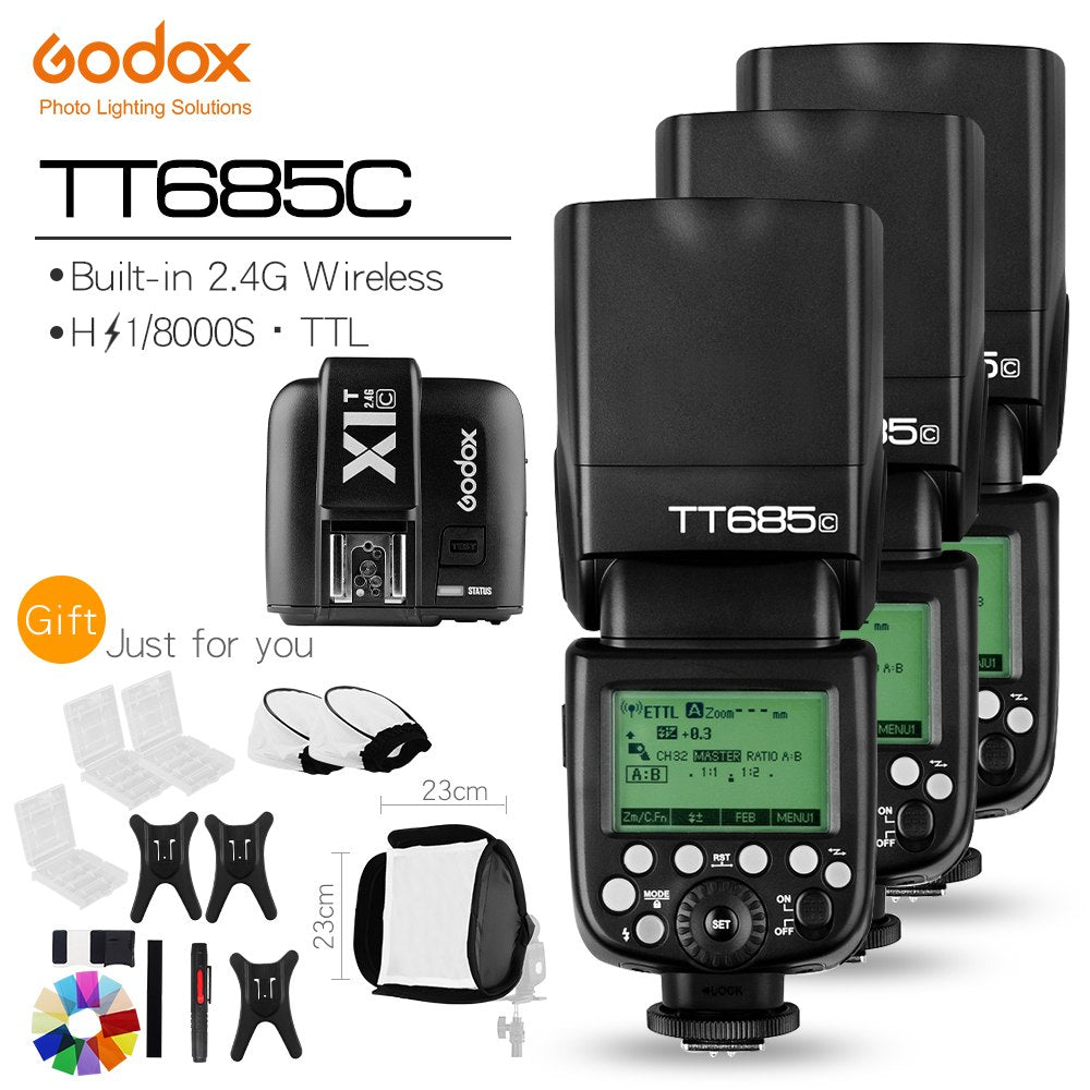 Free DHL!!3X Godox TT685C 2.4G HSS E-TTL GN60 Wireless Flashes + X1 TTL Trigger - Mode de vie Photography and Photo Presets