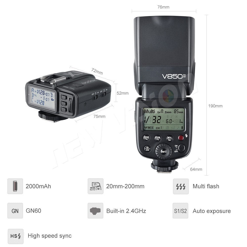 Free DHL 3x Godox V850II 2.4G GN60 Wireless X System Li-ion Battery Speedlite - Mode de vie Photography and Photo Presets