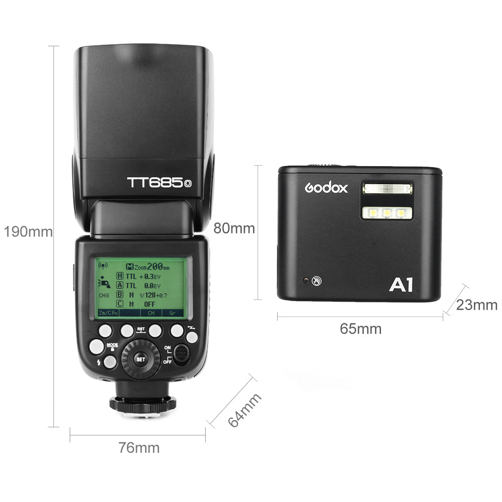 Free DHL Godox TT685O HSS TTL Flash with Godox A1 Flash Phone Speedlite Built-in - Mode de vie Photography and Photo Presets