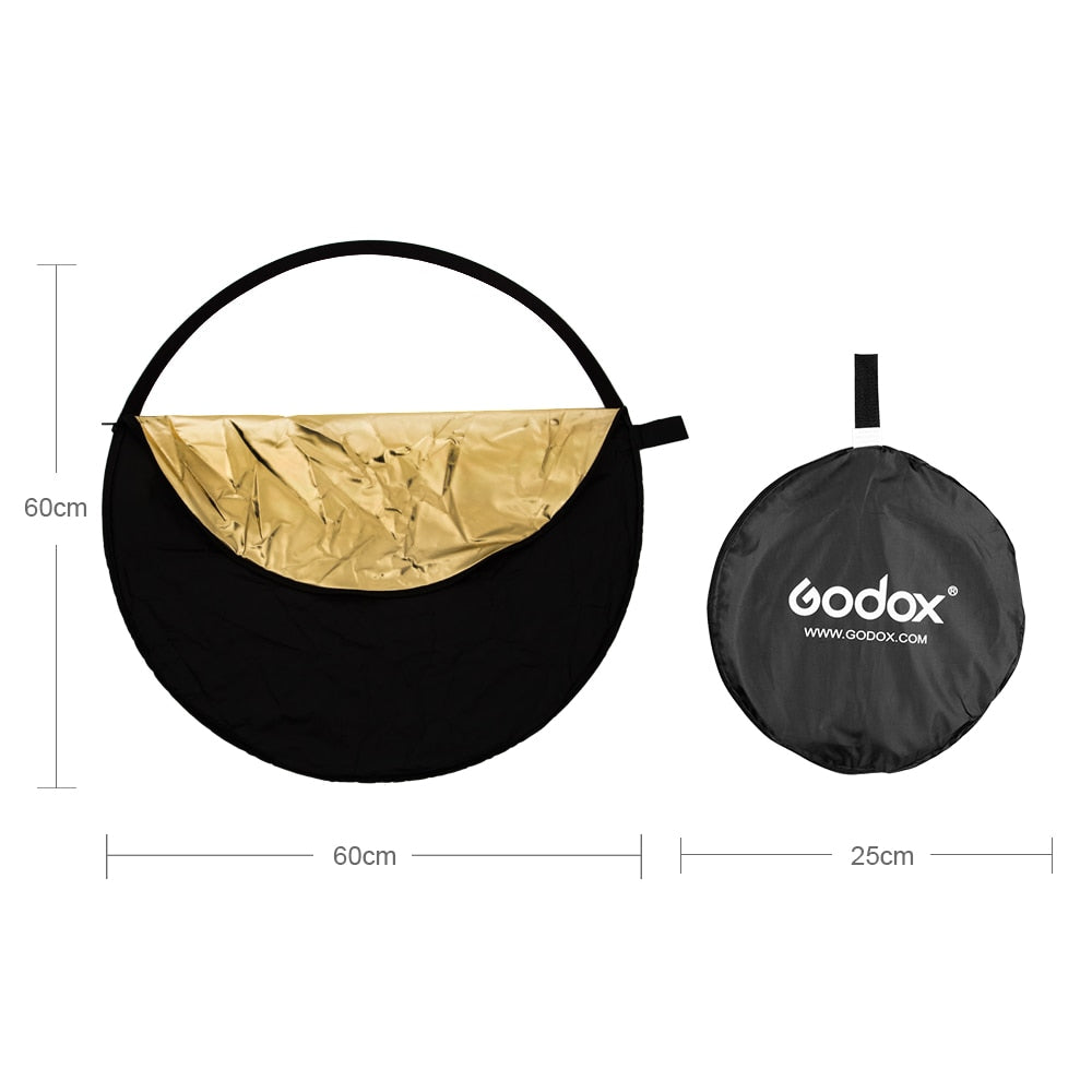 "GODOX 24"" 60cm 5 in 1 Portable Collapsible Light Round Photography Reflector for Studio - Mode de vie Photography and Photo Presets"