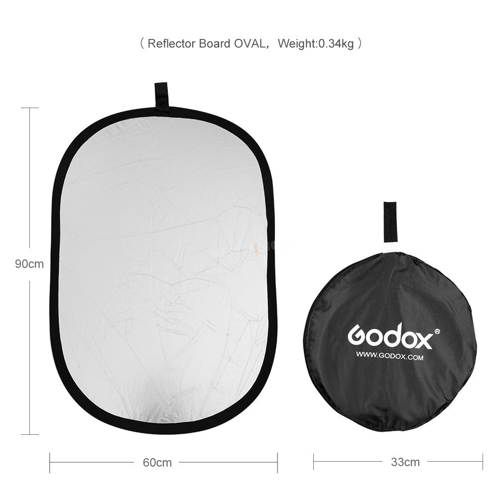 GODOX 2in1 60 x 90cm Portable Collapsible Light Oval Photography Reflector for Studio - Mode de vie Photography and Photo Presets