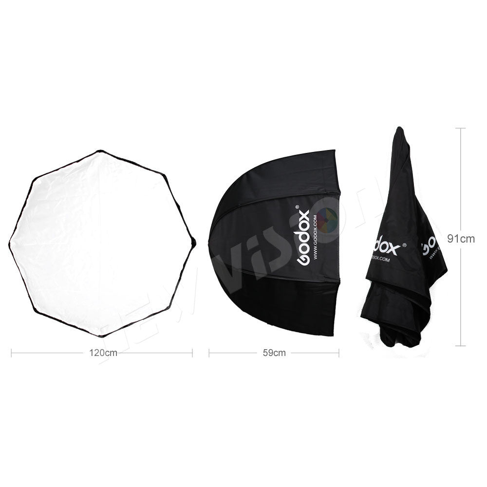 Godox 120cm / 47.2in Portable Octagon Softbox Umbrella Brolly Reflector for Studio Strobe - Mode de vie Photography and Photo Presets