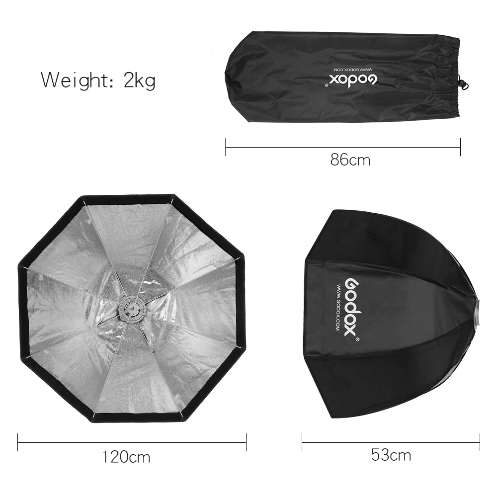 Godox 120cm Portable Octagonal Umbrella Softbox SB-UE 120cm 47in with Bowens Mount - Mode de vie Photography and Photo Presets