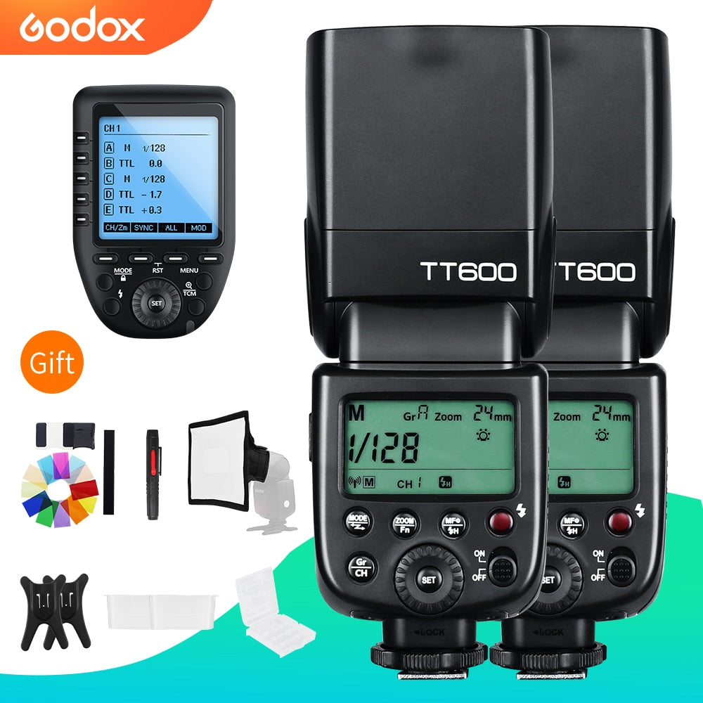 Godox 2x TT600 2.4G Wireless GN60 Master/Slave Camera Flash Speedlite with Xpro Trigger - Mode de vie Photography and Photo Presets