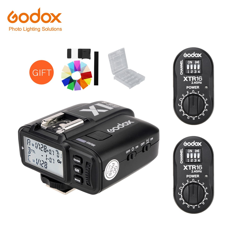Godox 2x XTR-16 Wireless 2.4G Power Control Flash Receivers + X1T-N TTL Wireless Transmitter for Nikon DE300 DE400 SK300 SK400 - Mode de vie Photography and Photo Presets