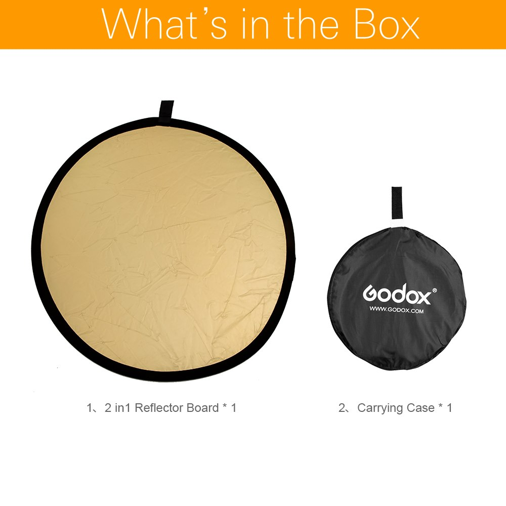 "Godox 31.5"" 80cm 2 in 1 Portable Collapsible Light Round Photography Reflector for Studio - Mode de vie Photography and Photo Presets"