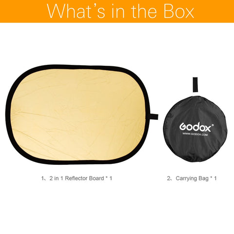 "Godox 35"" * 47"" 90 x 120cm 2 in 1 Portable Collapsible Light Oval Photography Reflector - Mode de vie Photography and Photo Presets"