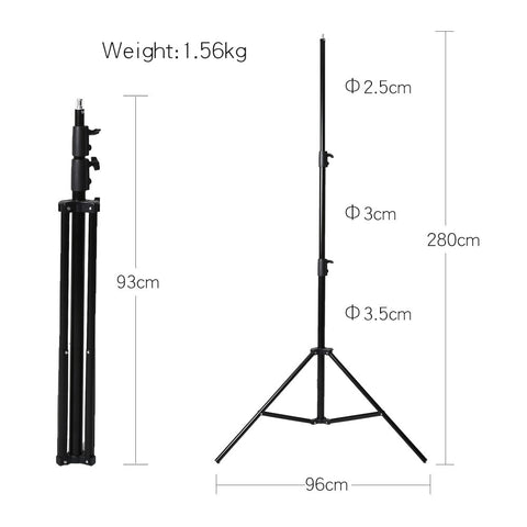 Godox 3pcs 280cm 2.8m 9FT Pro Heavy Duty Light Stand with 100cm Carry Bag for Studio - Mode de vie Photography and Photo Presets