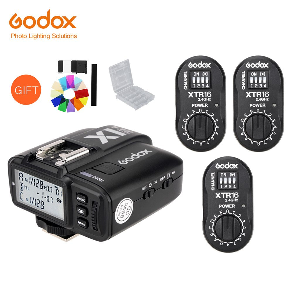 Godox 3x XTR-16 Wireless 2.4G Power Control Flash Receivers + X1T-N TTL Wireless Transmitter for Nikon DE300 DE400 SK300 SK400 - Mode de vie Photography and Photo Presets