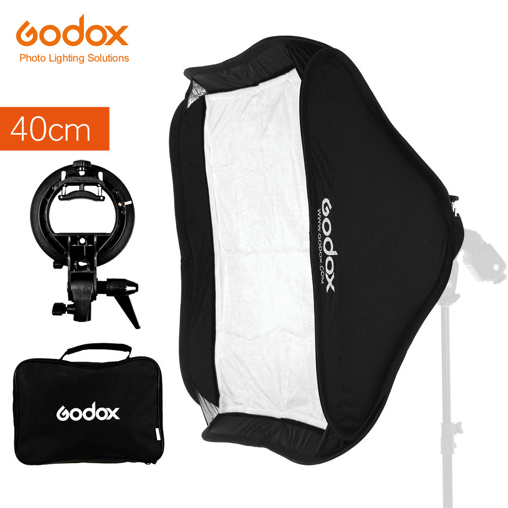"Godox 40 x 40cm 15"" * 15"" Softbox Diffuser with S-type Bracket Bowens Holder for Speedlite - Mode de vie Photography and Photo Presets"