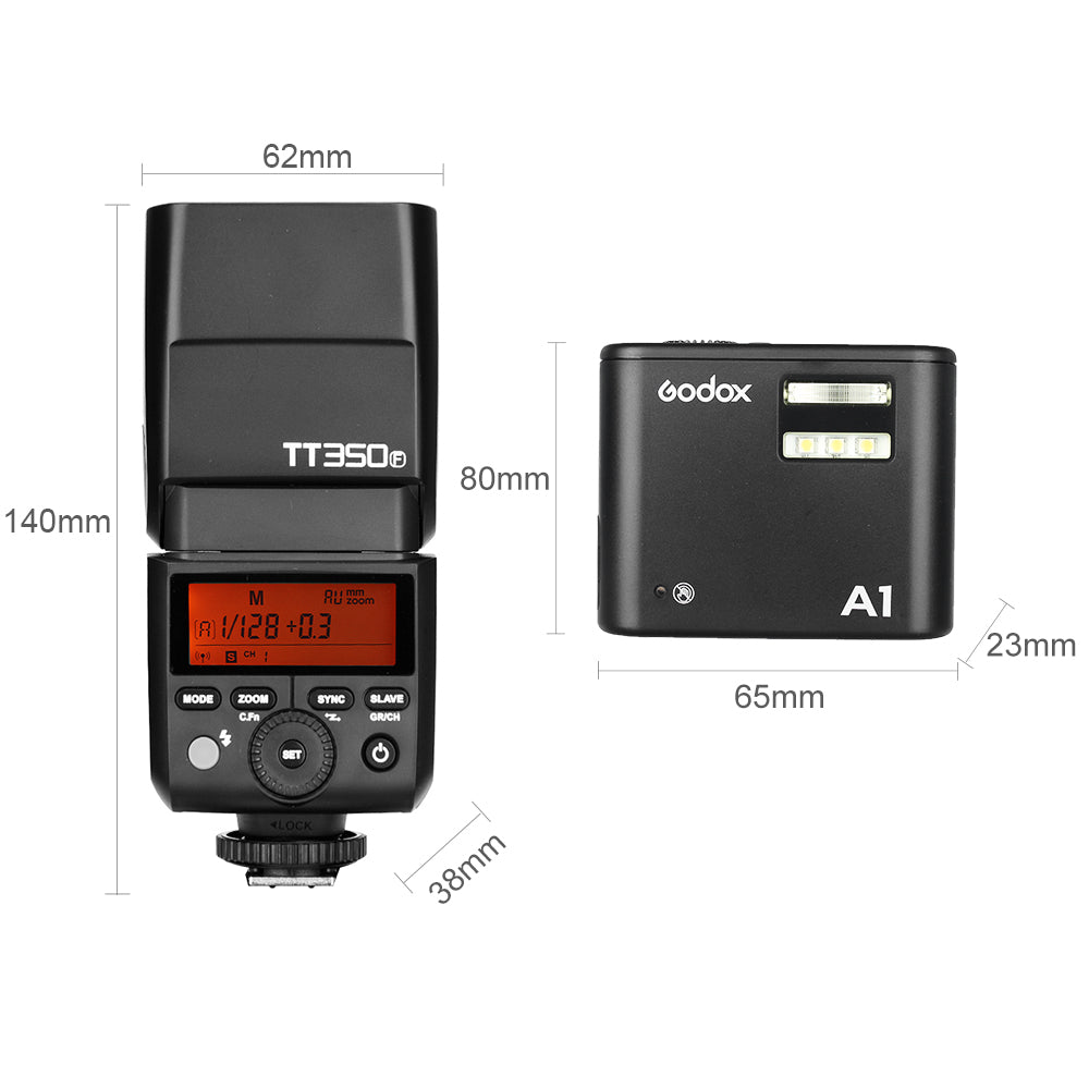 Godox A1 Phone Flash Speedlite Built-in X1 System with Godox TT350F GN36 HSS TTL - Mode de vie Photography and Photo Presets