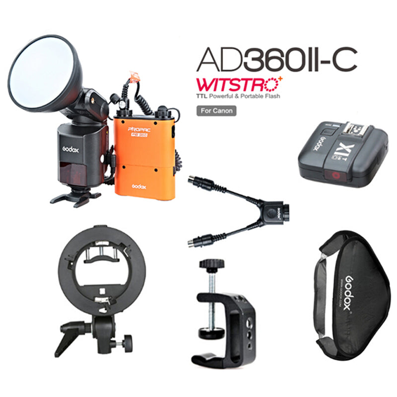 Godox AD-360 MARK II AD360II-C TTL Powerful Speedlite + PB960 Power Pack Orange - Mode de vie Photography and Photo Presets