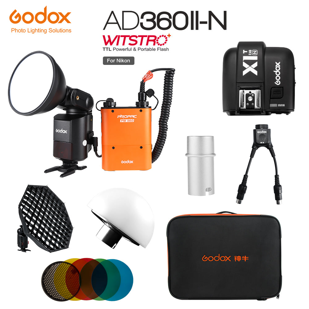 Godox AD360II-N TTL Powerful Speedlite Flash with PB960 Power Pack Orange+ X1T-N TTL - Mode de vie Photography and Photo Presets