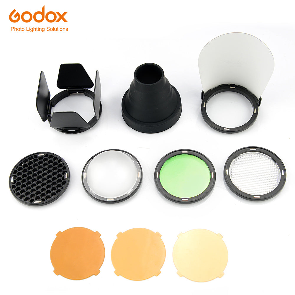 Godox AK-R1 Barn Door, Snoot, Color Filter, Reflector, Honeycomb, Diffuser Ball Kits for Godox - Mode de vie Photography and Photo Presets
