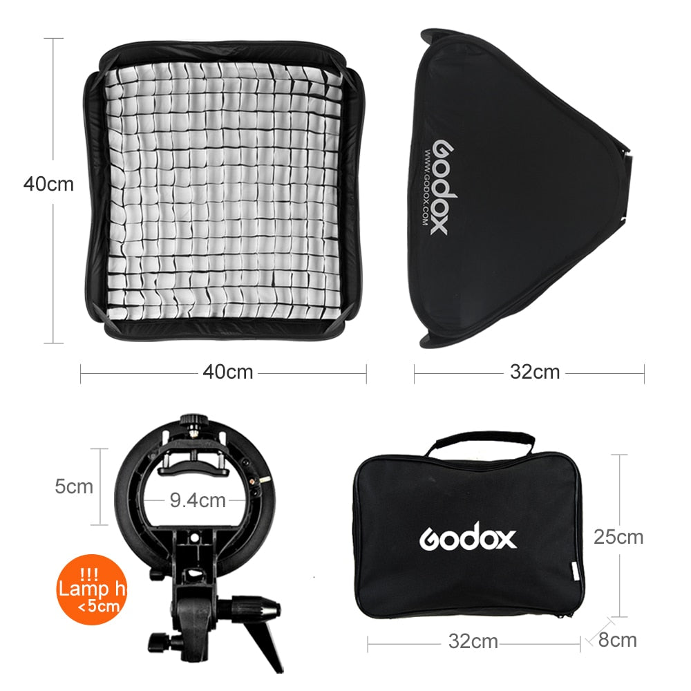 Godox Ajustable Flash Softbox 40 x 40cm with Bowens Mount S-type Bracket + Honeycomb - Mode de vie Photography and Photo Presets