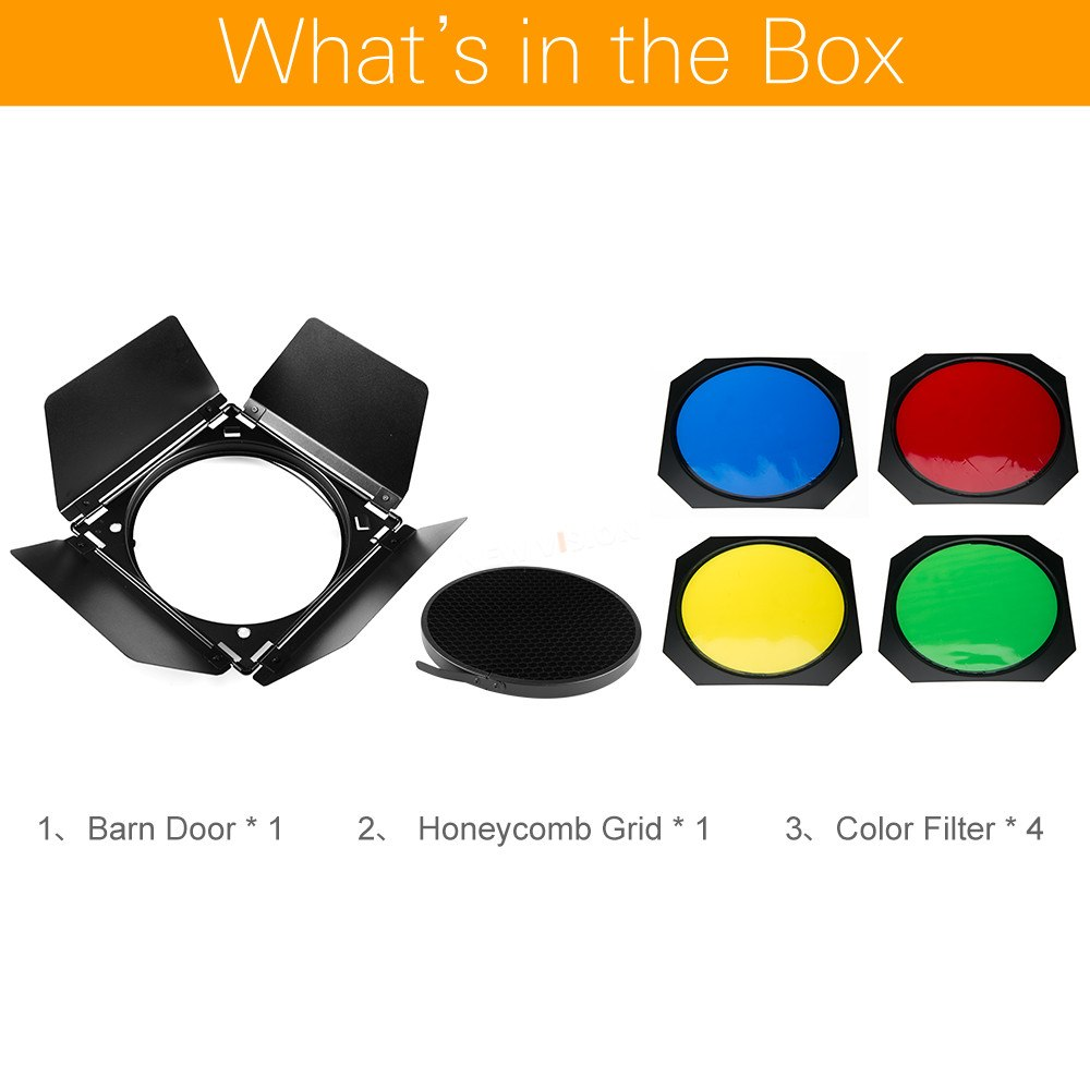 Godox BD-04 Barn Door + Honeycomb Grid + 4 Color Filter for Standard Reflector - Mode de vie Photography and Photo Presets