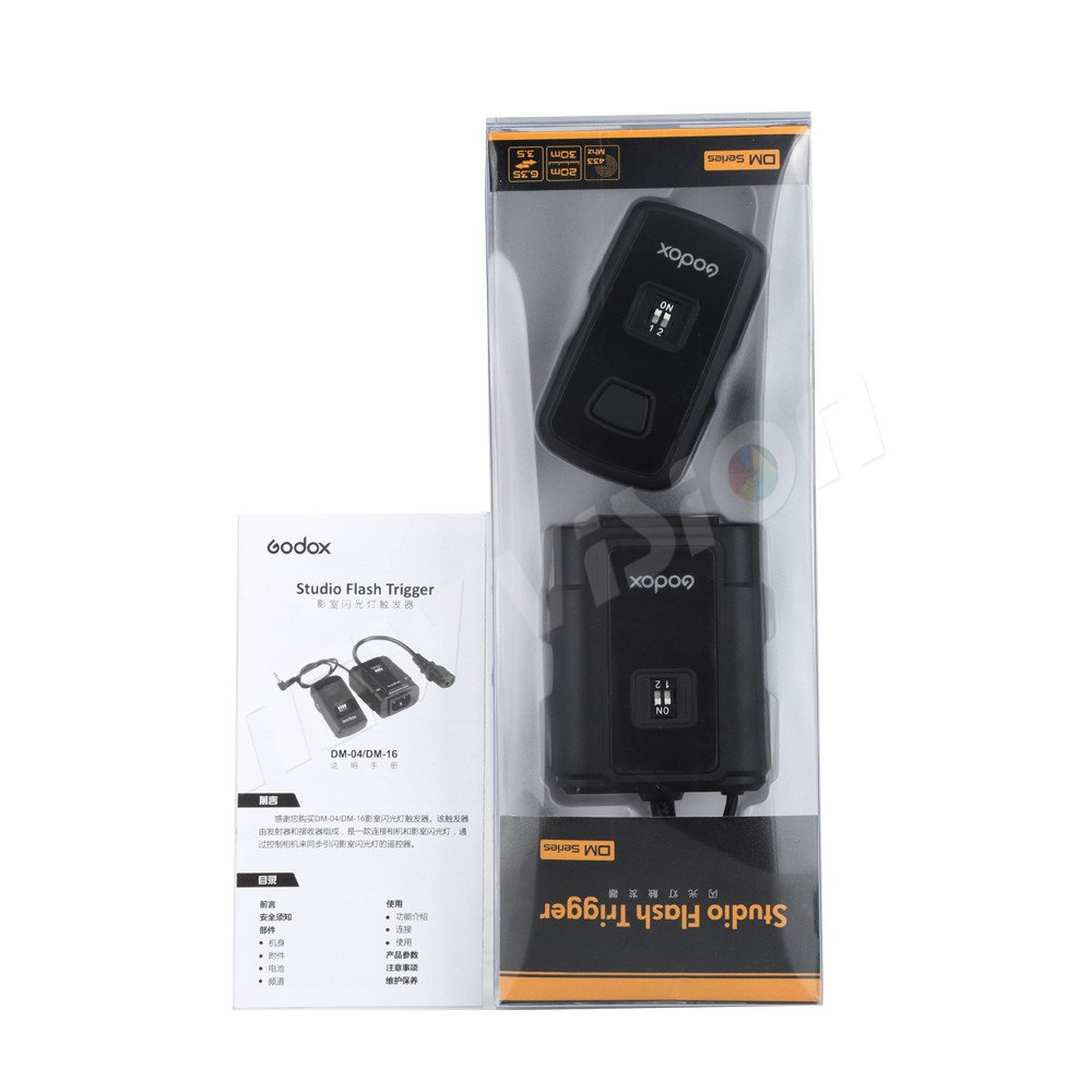 Godox DM-04 Wireless Studio Flash Trigger for Canon, Nikon, Pentax, Olympus, Samsung, 4 Channel, AC Power, Sync Speed 1/200s