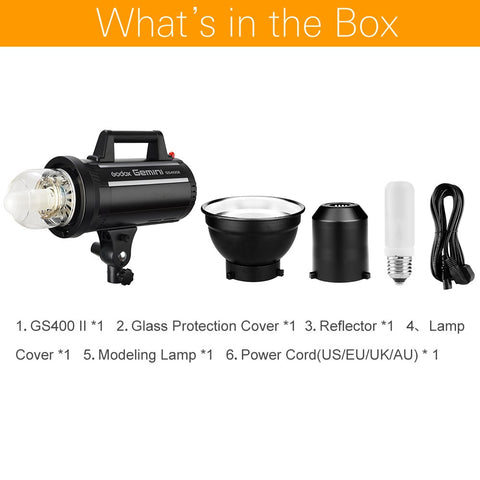 Godox GS400II GS400 II 400Ws GN65 Professional Studio Strobe with Built-in Godox 2.4G - Mode de vie Photography and Photo Presets