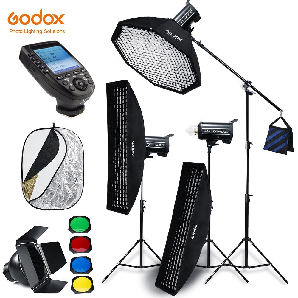 Godox QT400II 3x 400WS Built-in Wireless X System Studio High Speed Flash Lighting Kit - Mode de vie Photography and Photo Presets