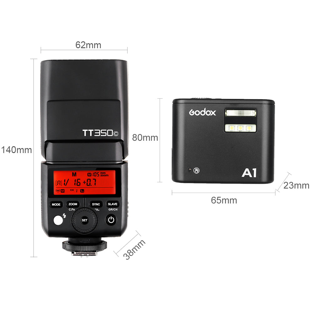 Godox TT350C GN36 HSS TTL Speedlite with X1 System Flash Godox A1 Phone Speedlite - Mode de vie Photography and Photo Presets