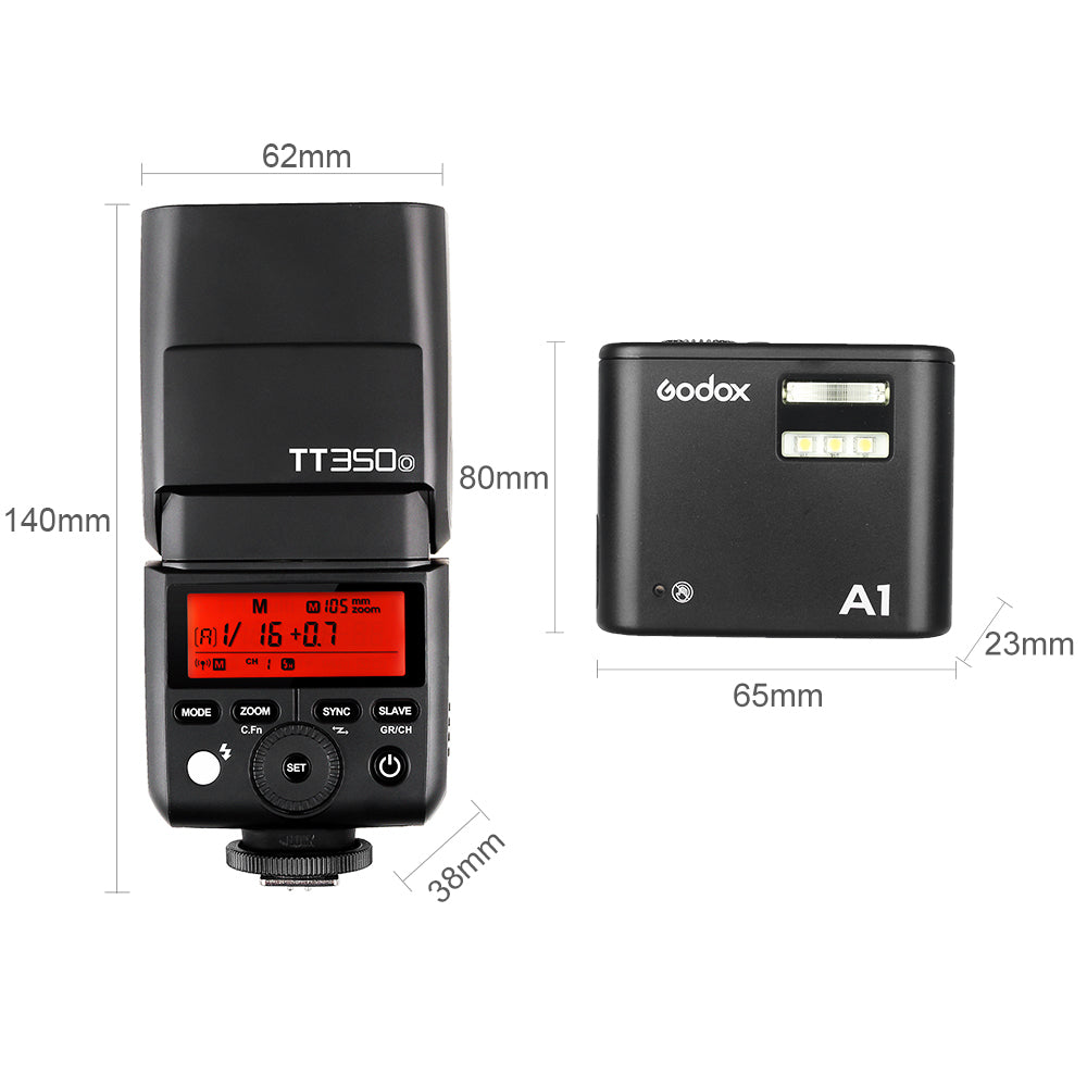 Godox TT350O GN36 HSS TTL Speedlite with X1 System Speedlite Godox A1 Phone Flash - Mode de vie Photography and Photo Presets