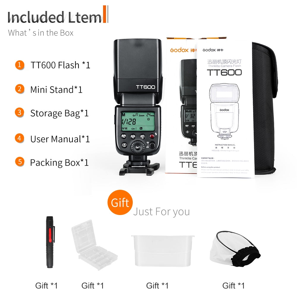 Godox TT600 2.4G Wireless GN60 Master/Slave Camera Flash Speedlite - Mode de vie Photography and Photo Presets