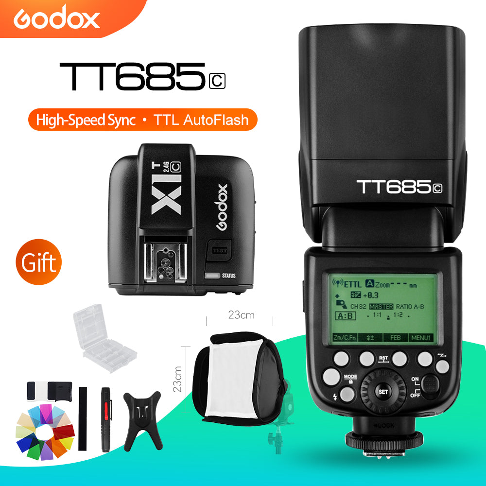 Godox TT685C TTL 1/8000s High Speed Wireless 2.4G Speedlite with X1T-F Transmitter - Mode de vie Photography and Photo Presets