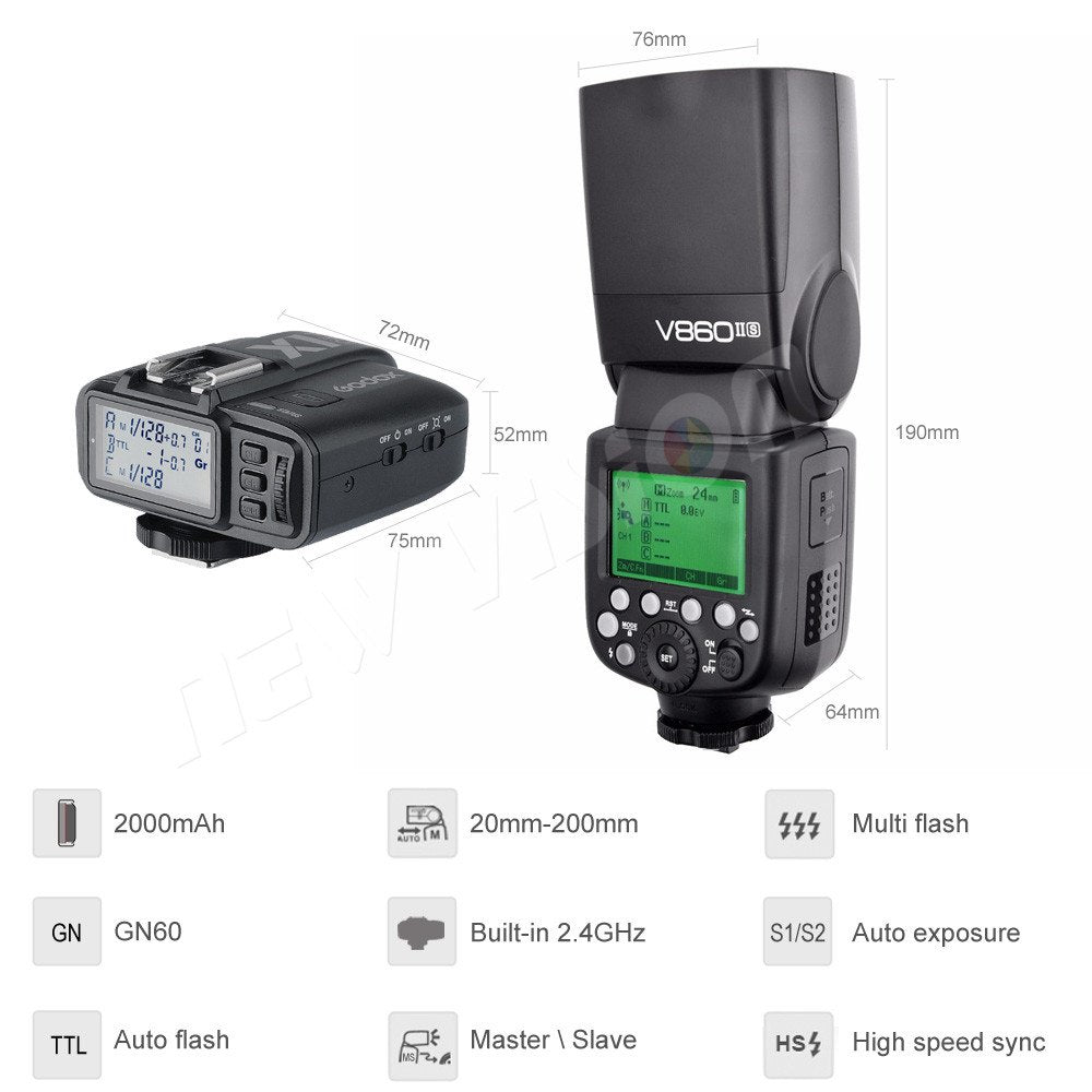 Godox V860II-S E-TTL HSS 1/8000 Li-ion Battery Speedlite Flash+ X1T-S Transmitter for Sony - Mode de vie Photography and Photo Presets