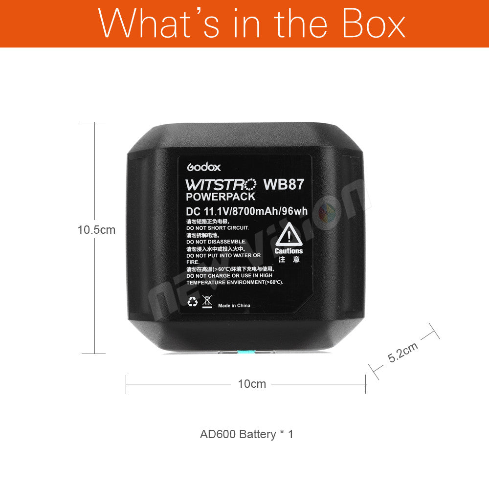 Godox WB87 Battery Pack 11.1V 8700mAh for  AD600 AD600BM AD600B TTL 2.4G X System - Mode de vie Photography and Photo Presets
