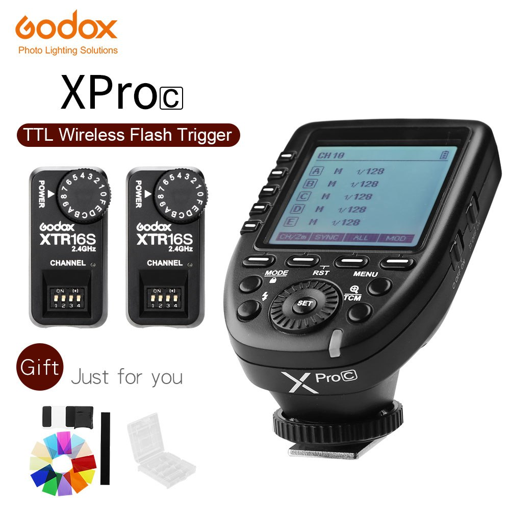 Godox XPro-C E-TTL II 2.4G Wireless X System HSS LCD Screen Transmitter + XTR-16S Receiver for Canon DSLR Godox V860C V850C - Mode de vie Photography and Photo Presets