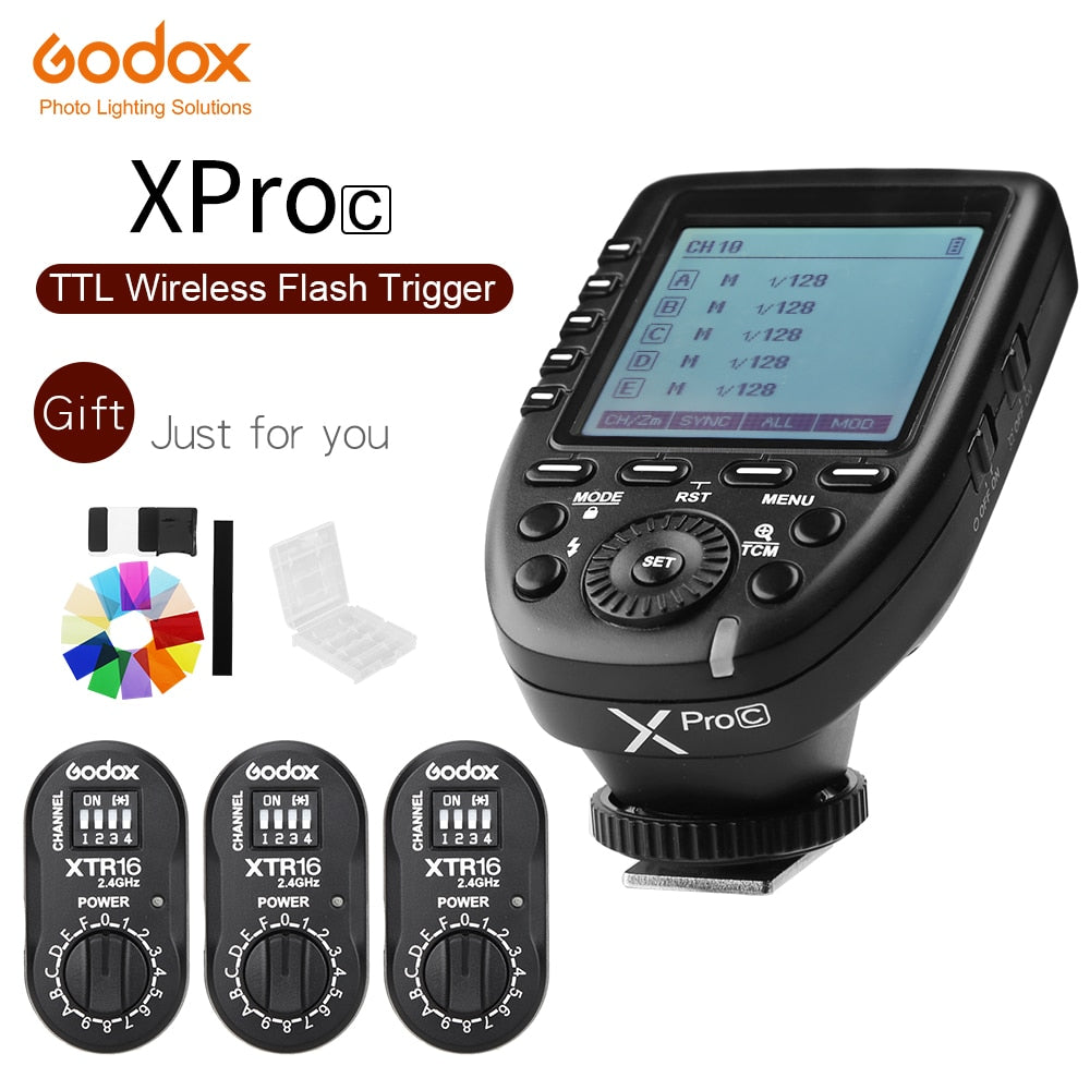 Godox XPro-C Flash Trigger Transmitter with E-TTL II 2.4G Wireless X System HSS LCD Screen + 3x XTR-16 Receiver  for Canon DSLR - Mode de vie Photography and Photo Presets